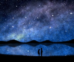art, stars, and love image