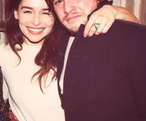 emilia clarke, kit harington, and game of thrones image