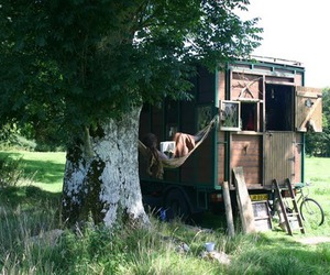 camping, nature, and tiny house image