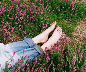 flowers, grunge, and feet image