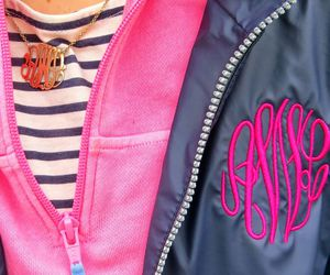 girly, monogram, and pink image
