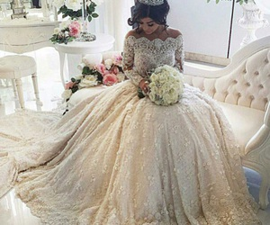 bride, ball gown, and wedding dress image