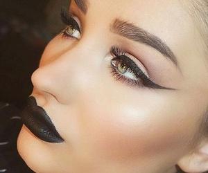 black, lipstick, and fashion image