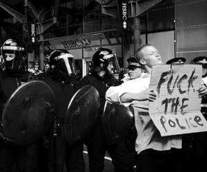 black and white, fuck, and police image