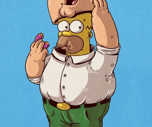 homer, peter, and simpsons image