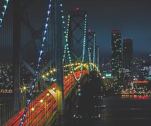 city, bridge, and lights image