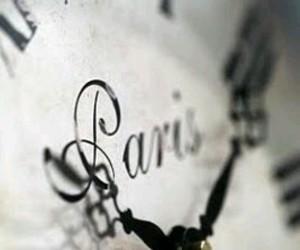 black & white, clock, and paris image