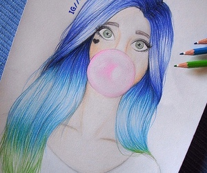 art, blue hair, and colorful hair image