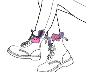 boots, flowers, and doodle image