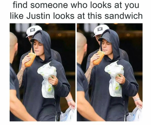 justin bieber, funny, and sandwich image