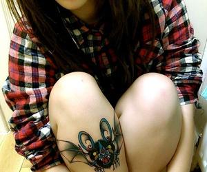 girl, tattoo, and bat image