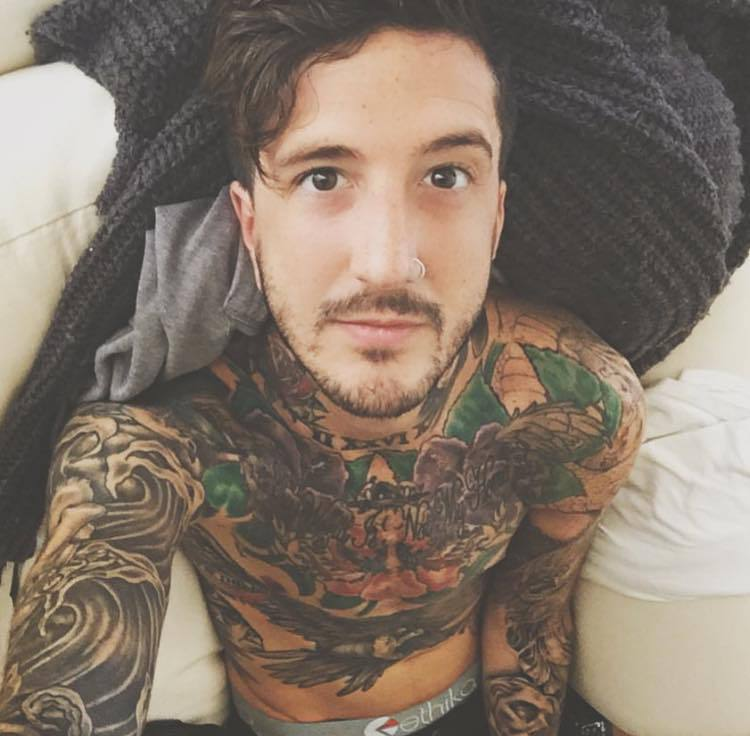 austin carlile, of mice and men, and tattoo image