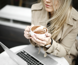 blond, coffee, and girl image