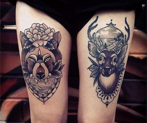 tattoo, legs, and deer image