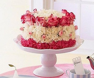 cake, carnation, and roses image