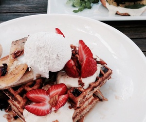 food, waffles, and strawberries image