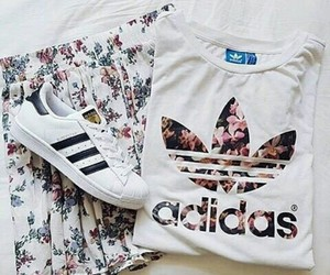 adidas, outfit, and flowers image