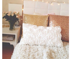 bedroom, bed, and flowers image