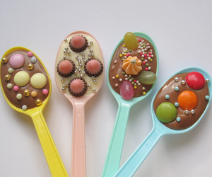 spoon, candy, and chocolate image