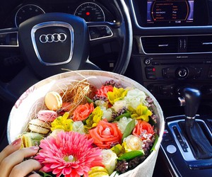 car, flowers, and audi image