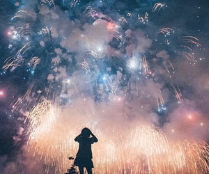 firework, girl, and night image