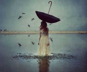 girl, umbrella, and bird image