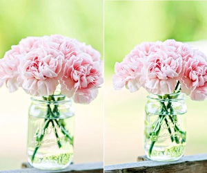 carnations, centerpieces, and mason jars image