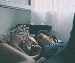 bed, cuddle, and girl image