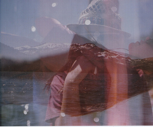 girl, hat, and reflection image