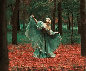 autumn, dress, and forest image
