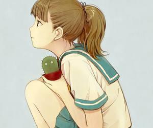 anime, girl, and cactus image
