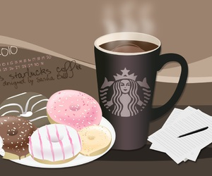 starbucks, donuts, and coffe image