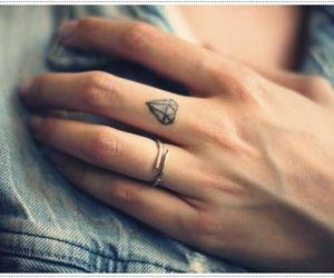tattoo, diamond, and fingers image