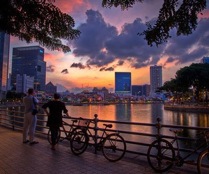 photography, city, and sunset image