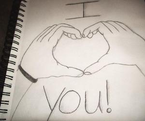 drawing, hands, and love image