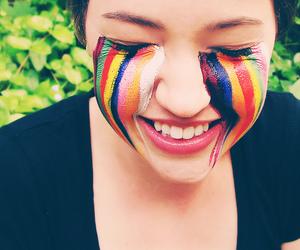 make-up, rainbow, and smile image