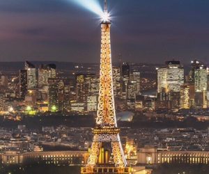 city, eiffel tower, and lights image