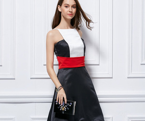 black and white dress, homecoming dress, and high low dress image