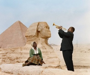 louis armstrong, egypt, and wife image