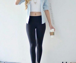 fashion, hair, and leggings image