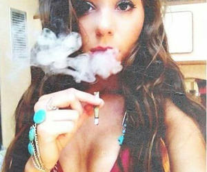 beautiful, cigarette, and eye image