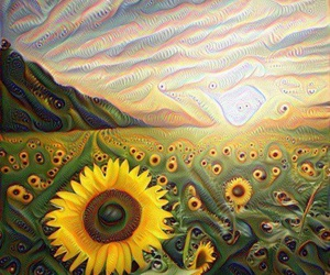 sunflowers, sky, and trippy image