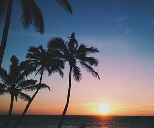 sun, sunset, and ocean image