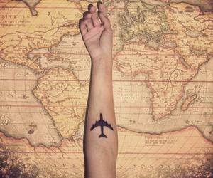 arm, plane, and tattoo image