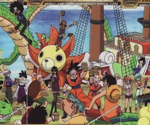 dragon ball, one piece, and crossover image