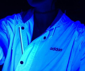 adidas, blue, and glow image
