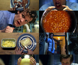 beans, doctor who, and food image