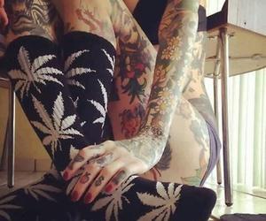 tattoo, weed, and socks image
