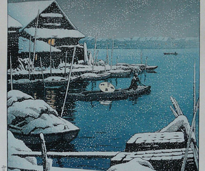 1931, woodblock print, and snow at mukojima image