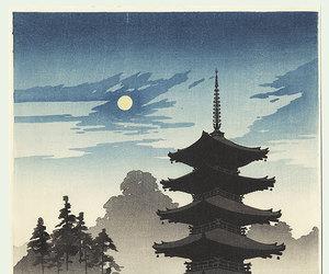woodblock print, a pagoda by moonlight, and by eijiro kobayashi image